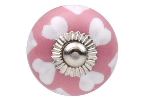 Meubelknop 30mm roze wit hartjes