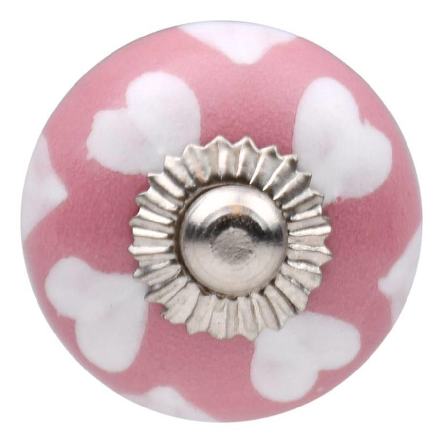 Meubelknop 30 mm roze wit hartjes van porselein