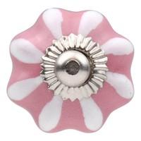 Porseleinen meubelknop roze wit bloem 30mm