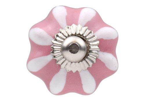 Meubelknop 30mm roze wit bloem