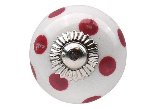 Meubelknop wit roze gestippeld - donker 30mm