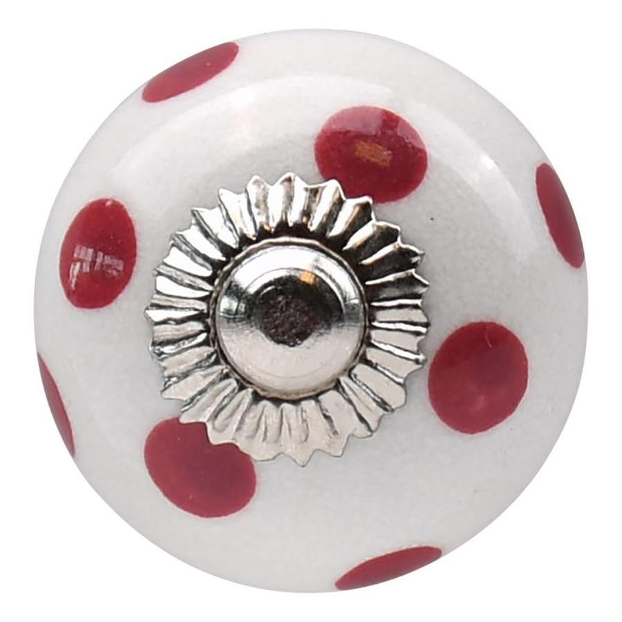 Porseleinen meubelknop wit roze gestippeld - donker 30mm