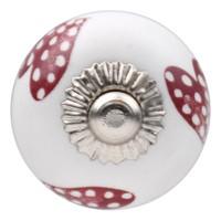 Porseleinen meubelknop wit roze gestippelde hartjes - donker 30mm