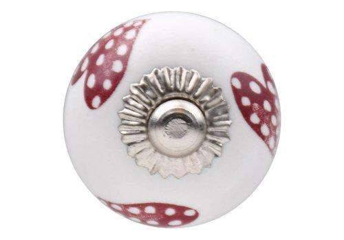 Meubelknop wit roze gestippelde hartjes - donker 30mm