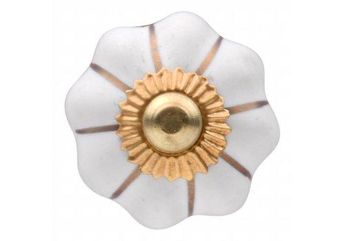 Meubelknop wit goud bloem 30mm