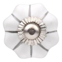 Porseleinen meubelknop wit zilver bloem 30mm