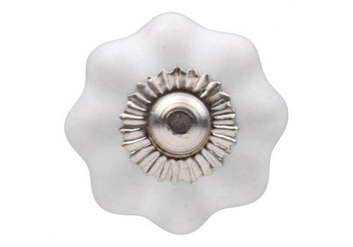 Meubelknop wit bloem 30mm