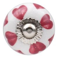 Porseleinen meubelknop wit roze hartjes 30mm