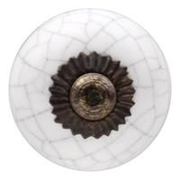 Porseleinen meubelknop wit gekrakeleerd 30mm