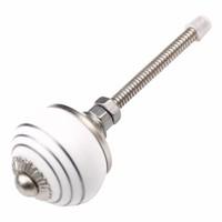 Porseleinen meubelknop wit zilver gestreept 30mm