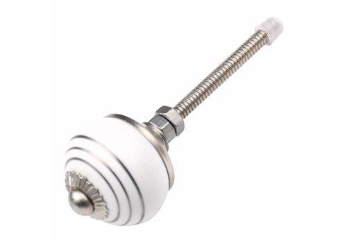 Meubelknop 30mm wit zilver gestreept