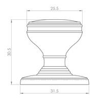 Kastdeurknop 25mm - gepolijst chroom