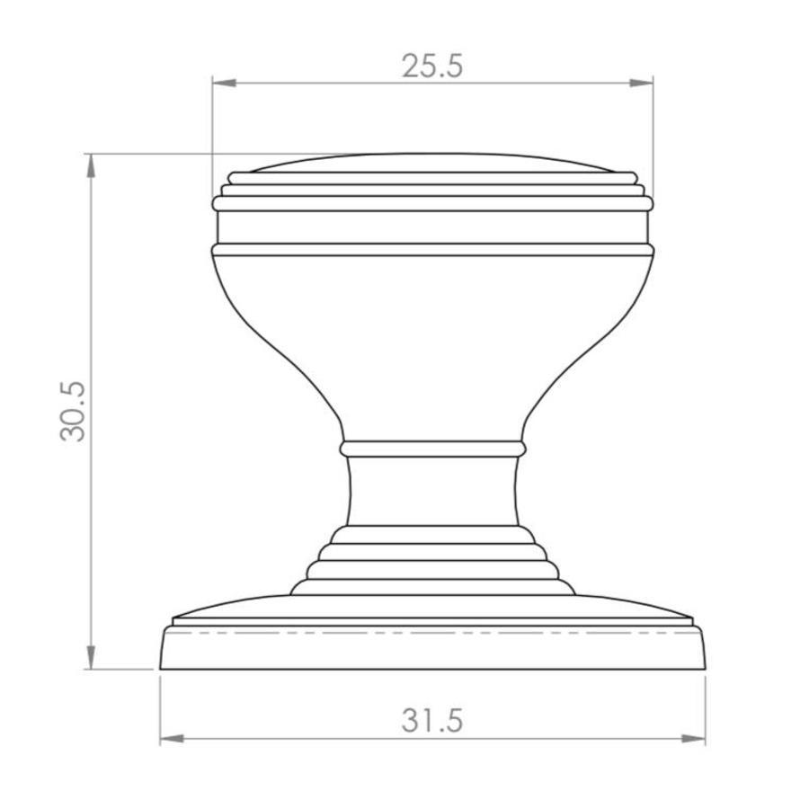 Kastdeurknop 25mm - antiek zwart