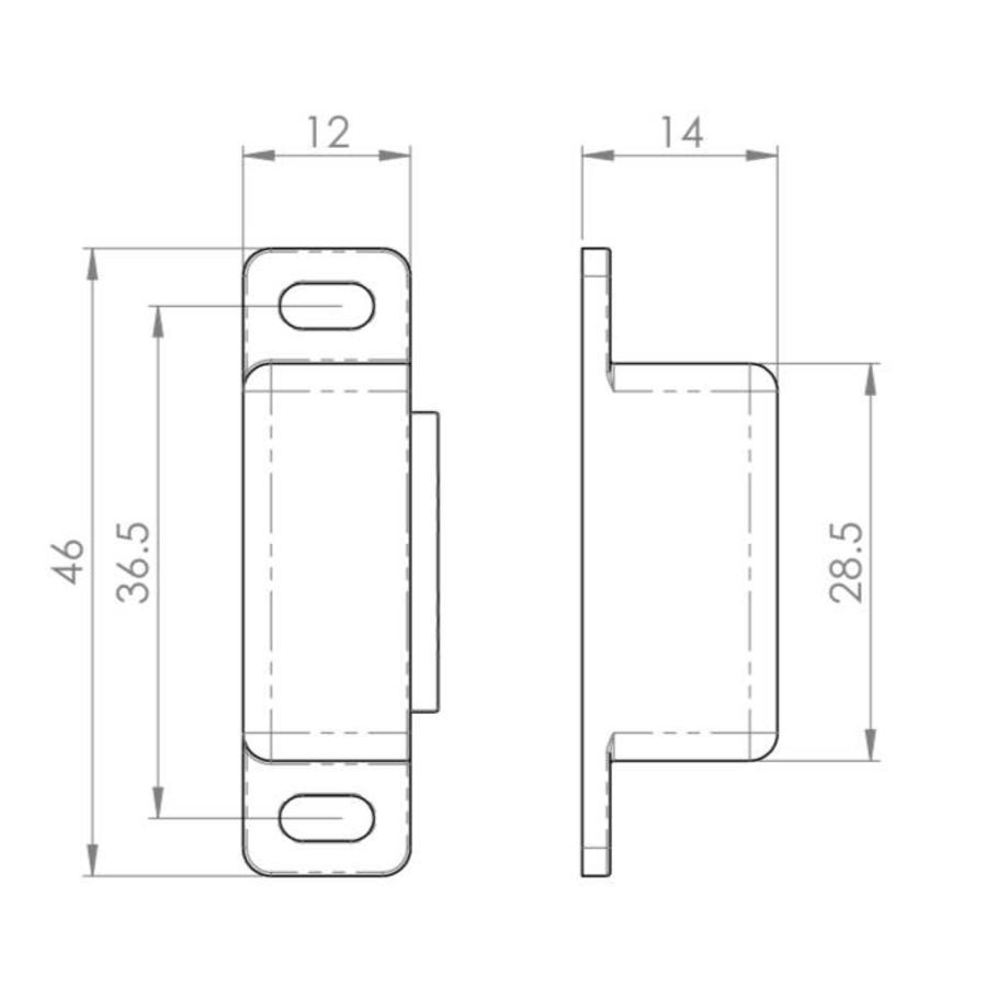 Magneetsnapper gepolijst nikkel, 6 kg