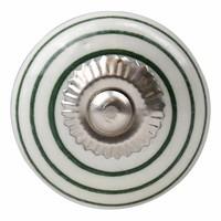Porseleinen meubelknop wit groen gestreept
