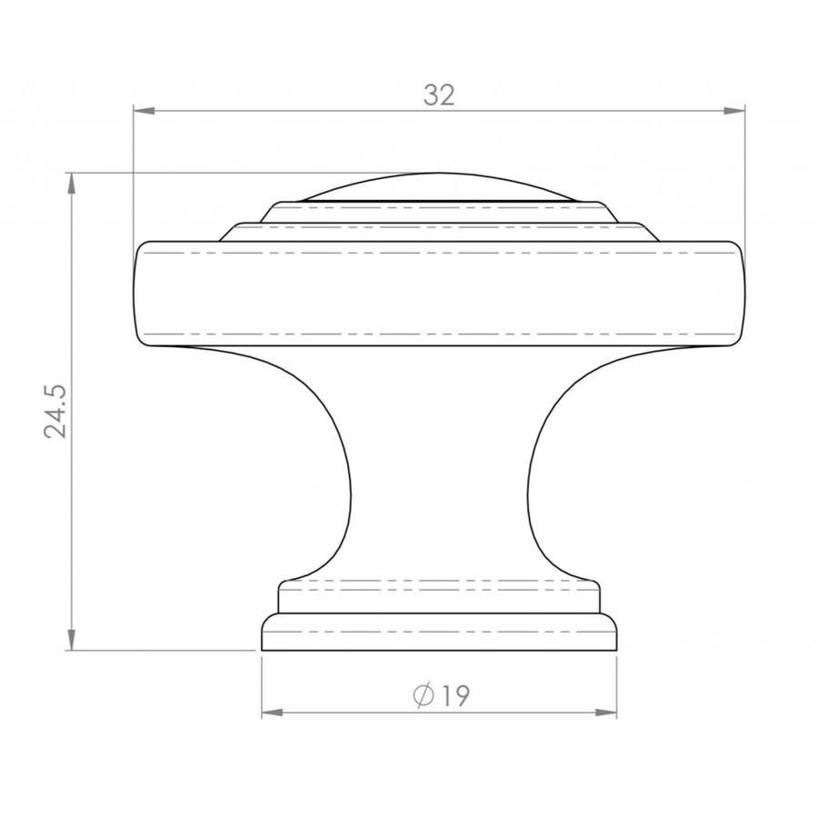 Ronde kastknop 32mm in Antiek Messing