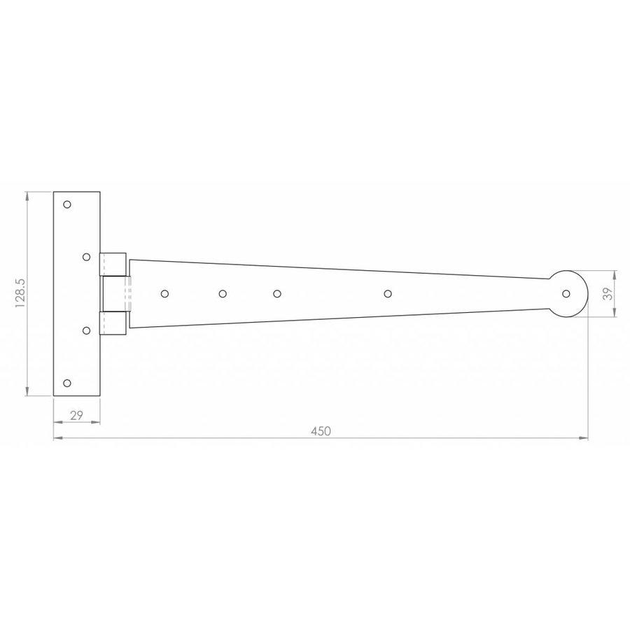 Smeedijzeren scharnier 30 cm van Ludlow foundries - Copy