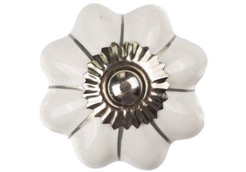 Meubelknop 40mm wit zilver bloem