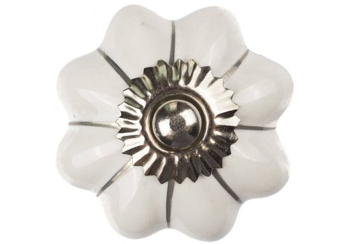 Meubelknop wit zilver bloem