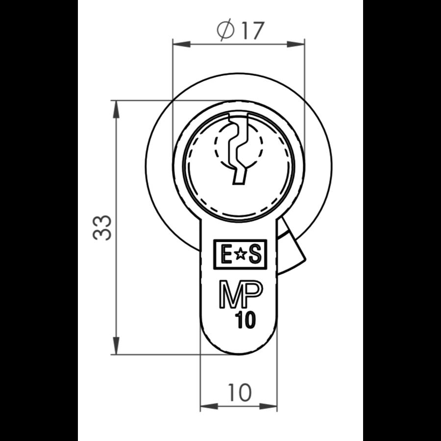 Euro Cilinder met draaiknop, zwart