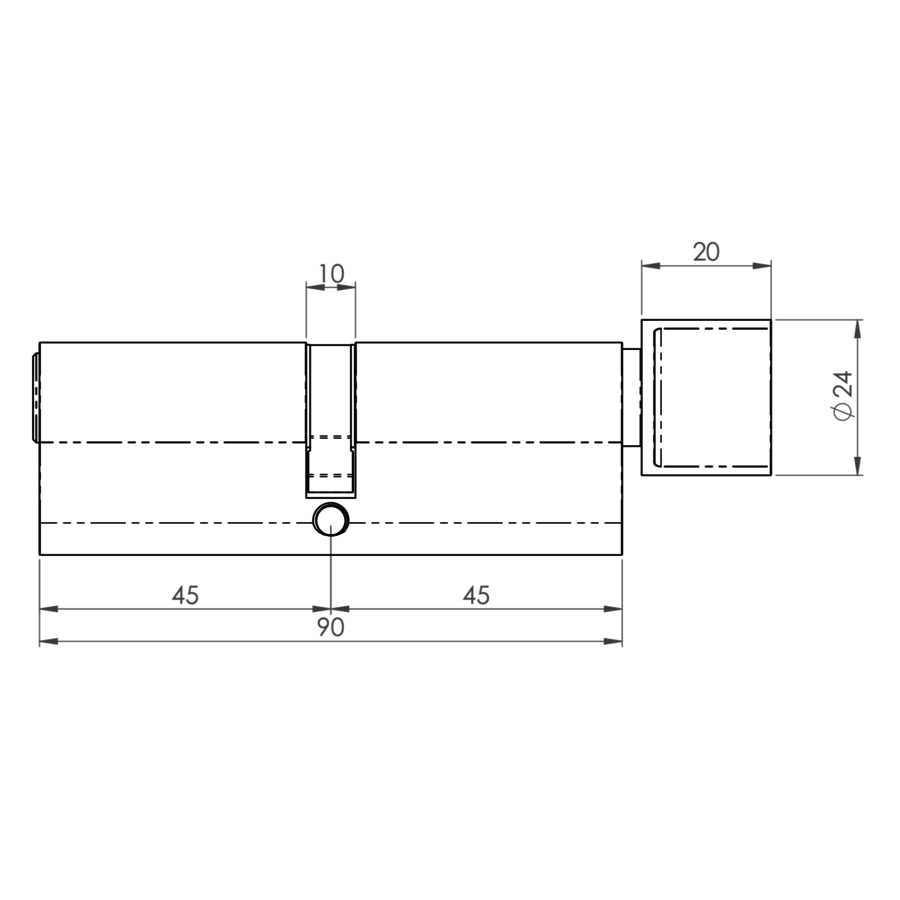 Europrofiel cilinder met draaiknop zwart gecoat