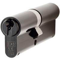 Gietijzeren deurkruk op schild - cilinderslot - pc-maat 57 pewter