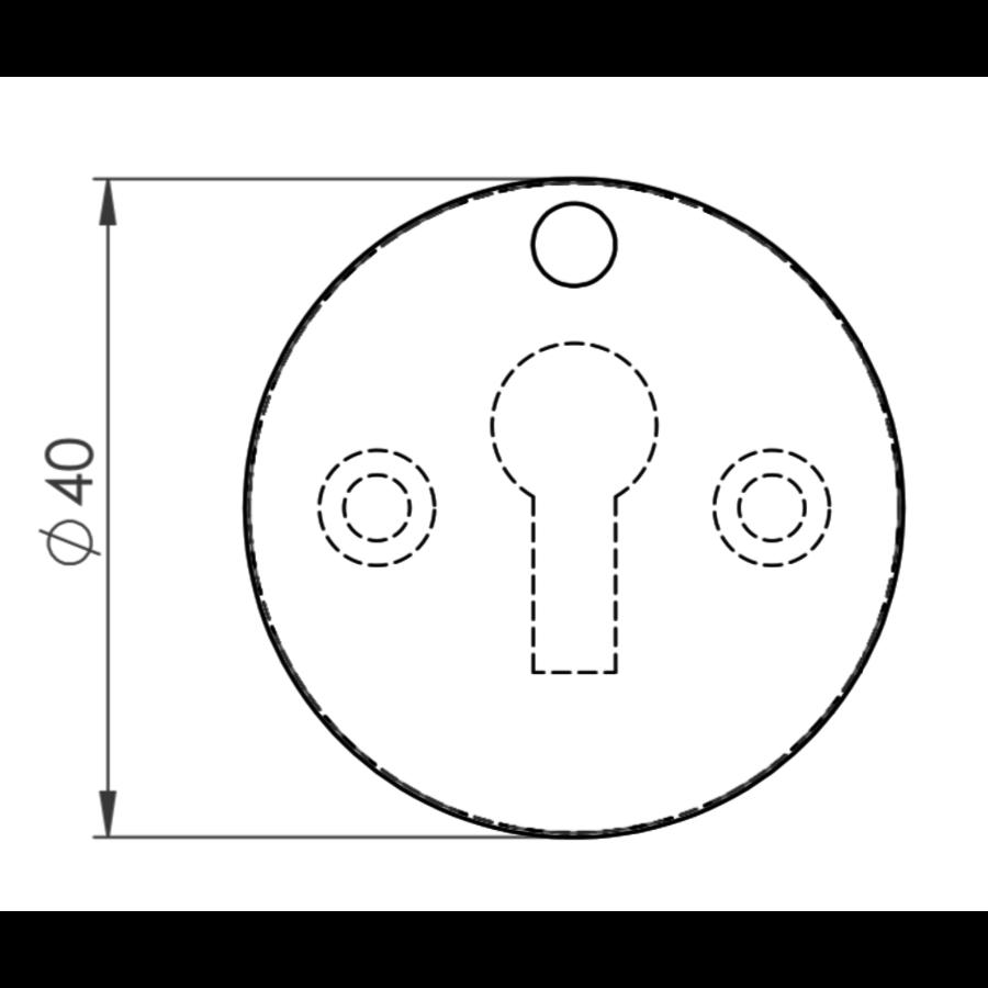Gietijzeren sleutelrozet rond met afdekplaat