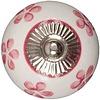 Meubelknop 40mm wit met roze bloemetjes