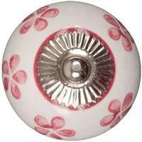 Porseleinen meubelknop wit met roze bloemetjes