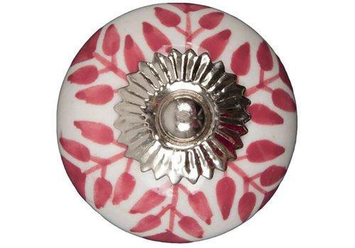 Meubelknop 40mm wit roze blaadjes