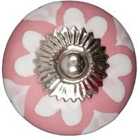 Porseleinen meubelknop roze wit hartjes