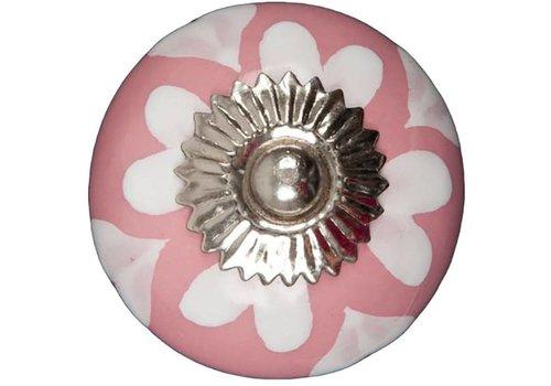 Meubelknop 40mm roze wit hartjes
