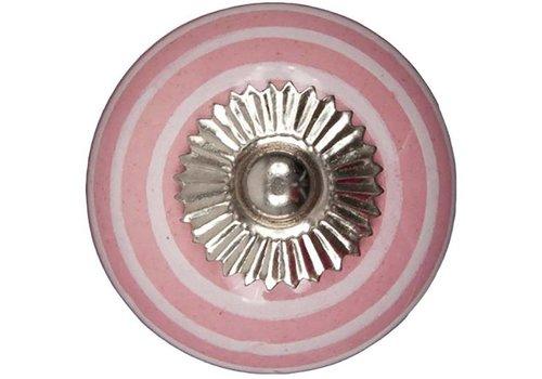 Meubelknop 40mm roze wit gestreept