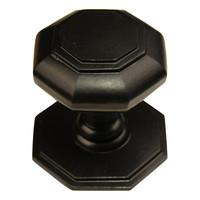 Zwarte gietijzeren voordeurknop achthoek - 70mm - enkel