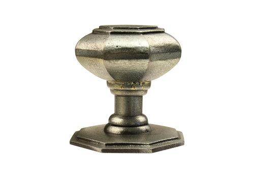 Pewter voordeurknop achthoek - 70mm - enkel