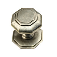 Pewter gietijzeren voordeurknop achthoek - 70mm - enkel