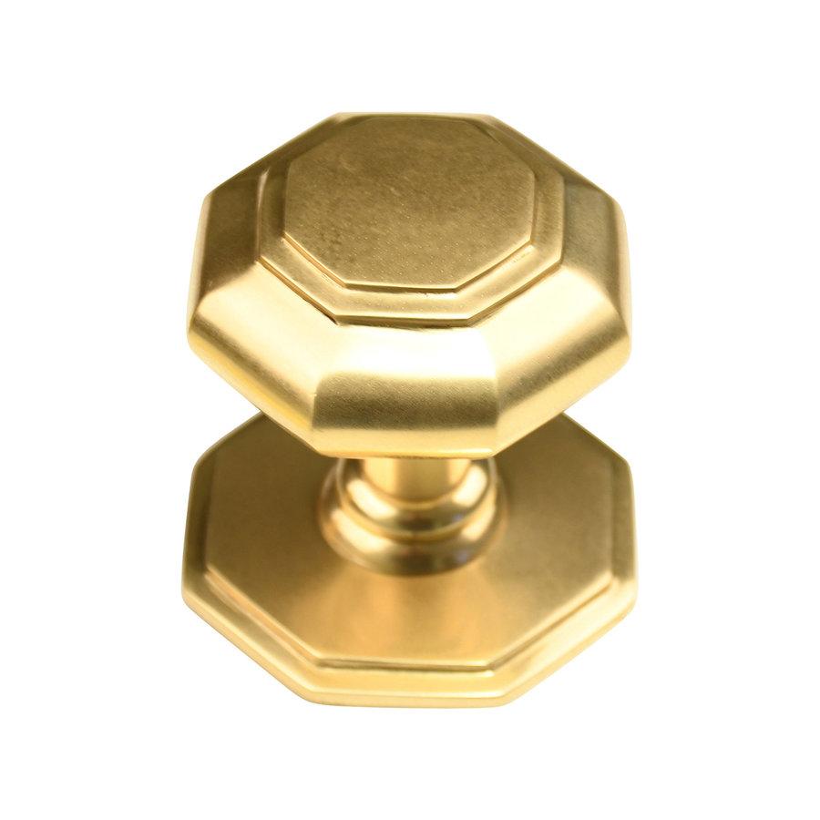 Gepolijst messing voordeurknop achthoek - 70mm - enkel