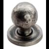 Gehamerde kastknop 32mm op rozet - Pewter