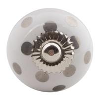 Porseleinen meubelknop wit met zilveren stippels