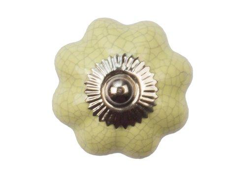 Meubelknop 40mm geel bloem gekrakeleerd