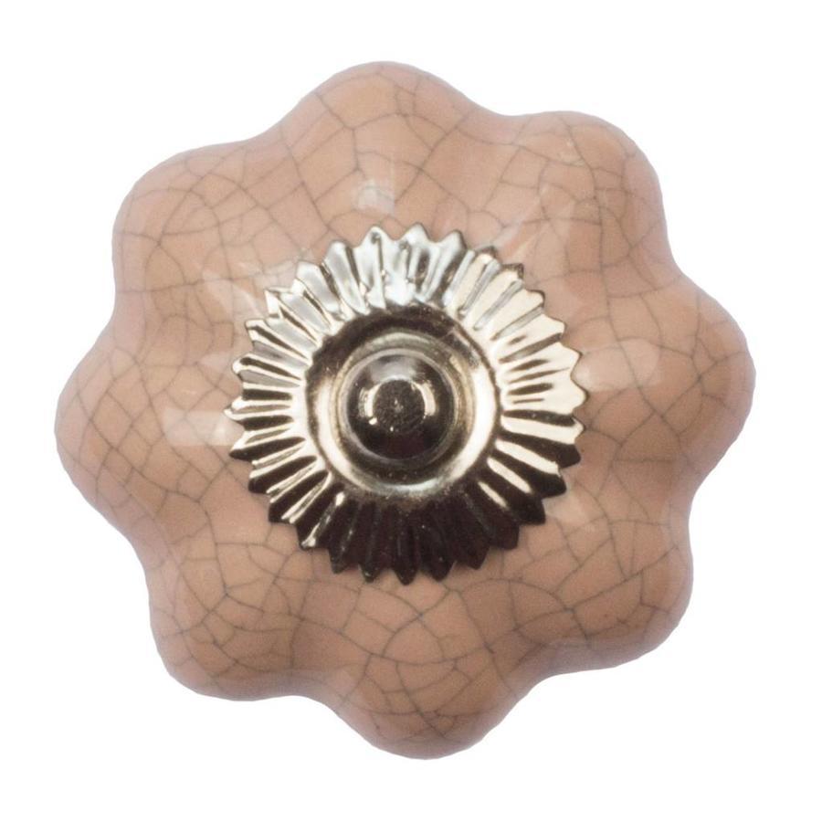Porseleinen meubelknop roze bloem gekrakeleerd