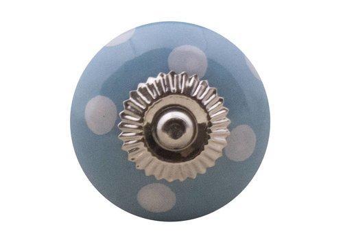 Meubelknop 40mm blauw wit gestippeld