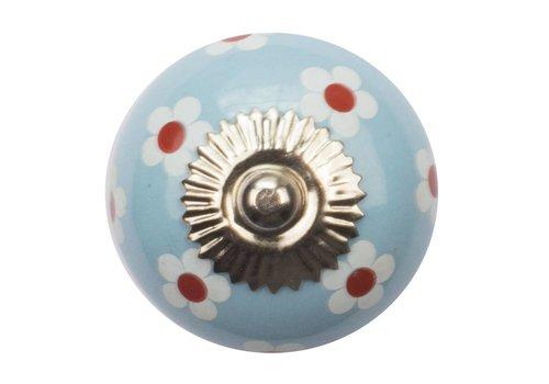 Meubelknop 40mm blauw wit rode bloemetjes