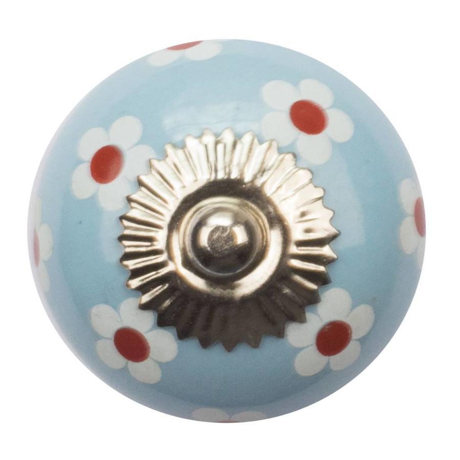Porseleinen meubelknop blauw wit rode bloemetjes