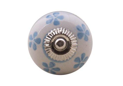 Meubelknop 40mm wit blauw bloemetjes
