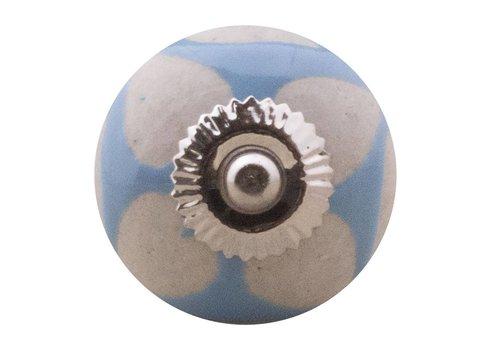 Meubelknop 40mm blauw beige hartjes