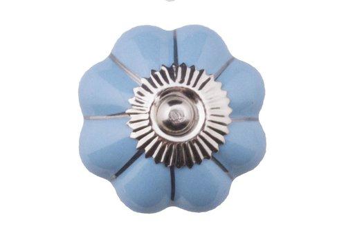 Meubelknop 40mm blauw zilver bloem