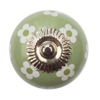 Porseleinen meubelknop groen witte bloemetjes