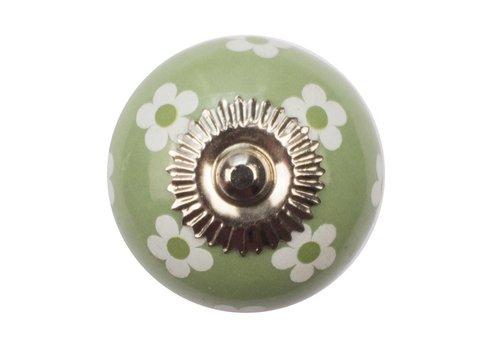Meubelknop 40mm groen witte bloemetjes