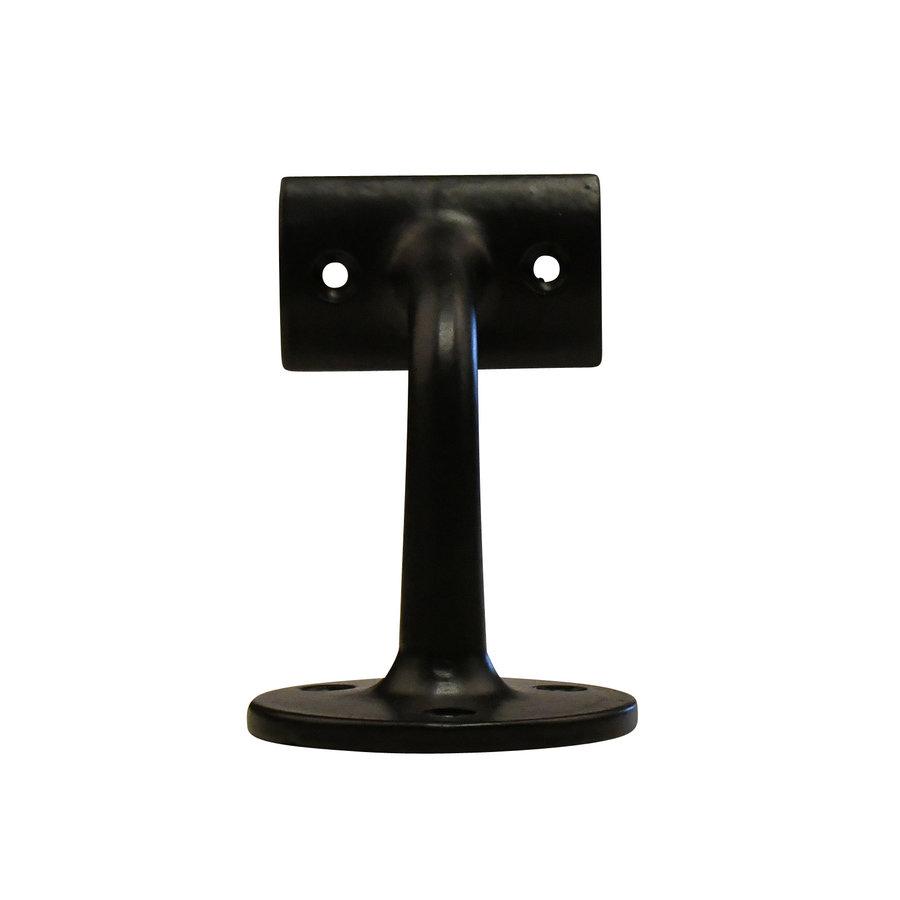 Gietijzeren leuninghouder 80mm - zwart gelakt - holle zadel
